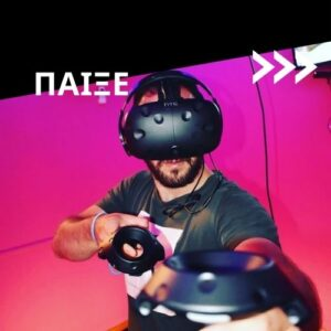 man playing virtual reality